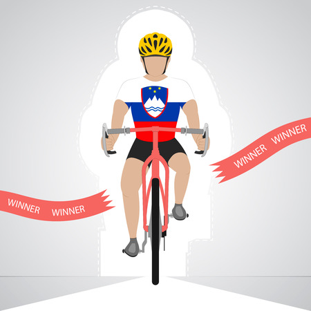 slovenian: Slovenian cyclist in front view crossing red finish line vector isolated illustration Illustration