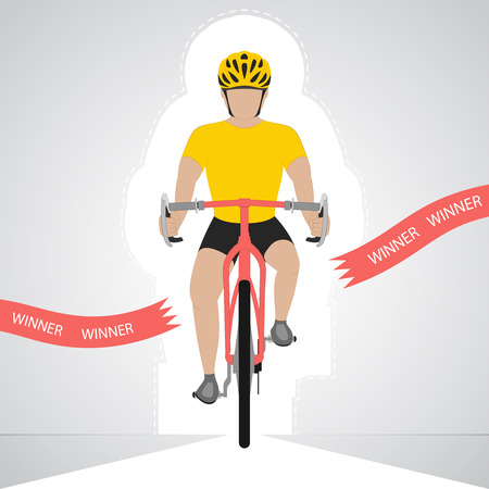 cyclist silhouette: yellow dressed cyclist in front view crossing red finish line vector isolated illustration