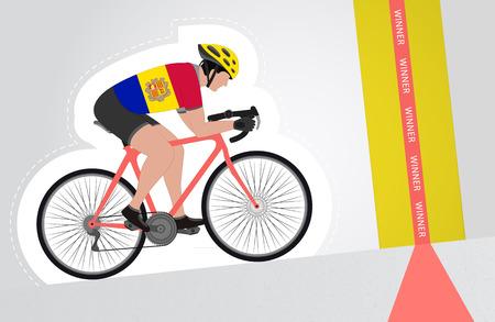 upwards: Andorran cyclist riding upwards to finish line vector isolated illustration
