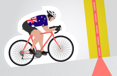 upwards: Australian cyclist riding upwards to finish line vector isolated illustration