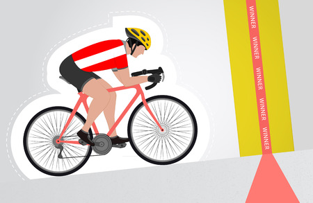Austrian cyclist riding upwards to finish line vector isolated illustration Vector