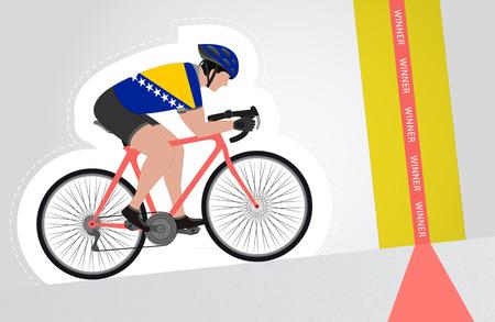 bosnian: Bosnian cyclist riding upwards to finish line vector isolated illustration