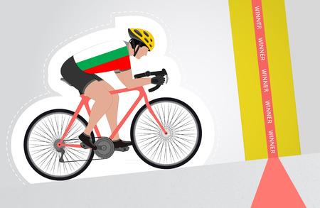 upwards: Bulgarian cyclist riding upwards to finish line vector isolated illustration