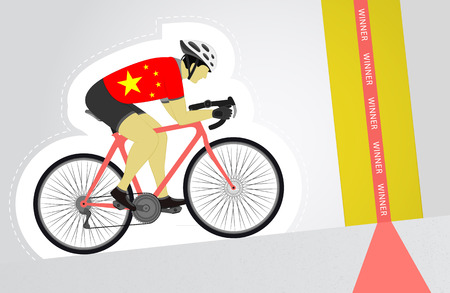 Chinese cyclist riding upwards to finish line vector isolated illustration Vector