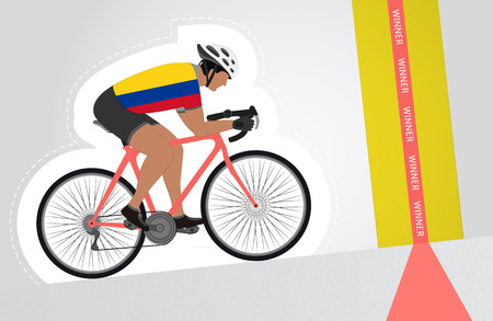 colombian: Colombian cyclist riding upwards to finish line vector isolated illustration