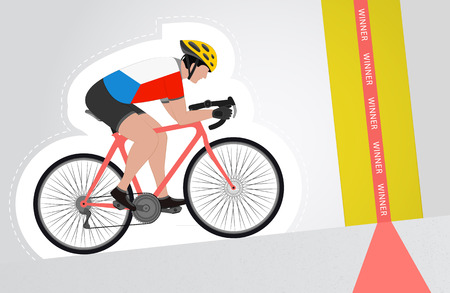 Czech cyclist riding upwards to finish line vector isolated illustration Vector