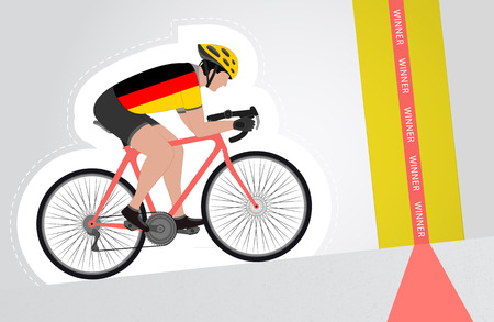 German cyclist riding upwards to finish line vector isolated illustration Vector
