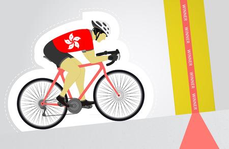 hong kong street: Hong Kong cyclist riding upwards to finish line vector isolated illustration Illustration