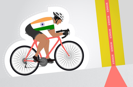 Indian cyclist riding upwards to finish line vector isolated illustration Vector