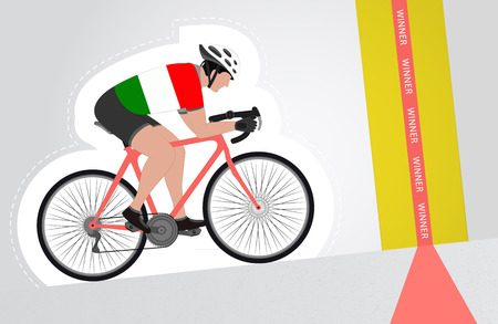 Italian cyclist riding upwards to finish line vector isolated illustration Vector