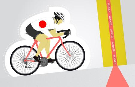 upwards: Japanese cyclist riding upwards to finish line vector isolated illustration