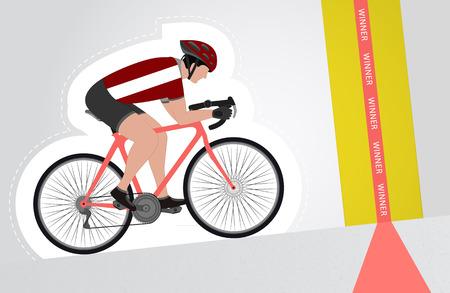 upwards: Latvian cyclist riding upwards to finish line vector isolated illustration Illustration