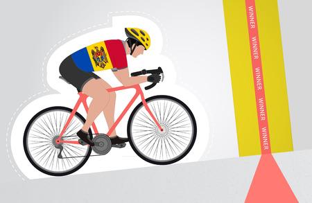 upwards: Moldavian cyclist riding upwards to finish line vector isolated illustration Illustration