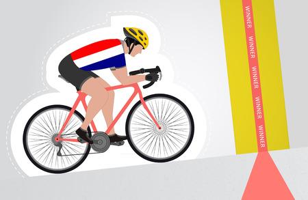 upwards: Dutch cyclist riding upwards to finish line vector isolated illustration