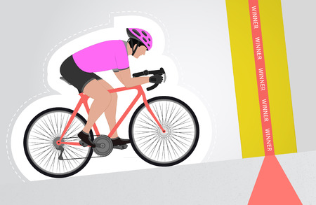 pink dressed cyclist riding upwards to finish line vector isolated illustration Vector