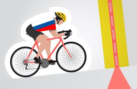 upwards: Russian cyclist riding upwards to finish line vector isolated illustration Illustration