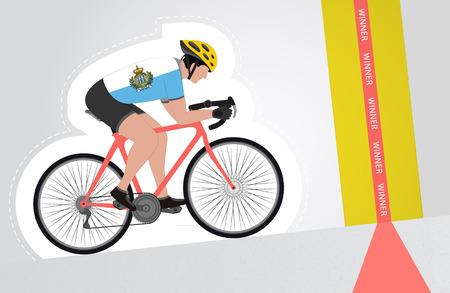 marino: San Marino cyclist riding upwards to finish line vector isolated illustration