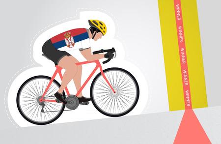 upwards: Serbian cyclist riding upwards to finish line vector isolated illustration Illustration