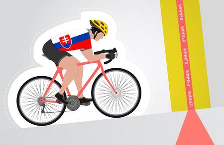 slovakian: Slovakian cyclist riding upwards to finish line vector isolated illustration