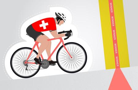 upwards: Swiss cyclist riding upwards to finish line vector isolated illustration