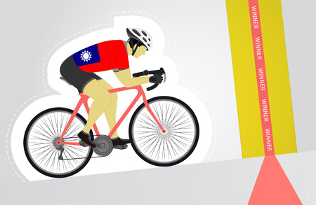 Taiwan cyclist riding upwards to finish line vector isolated illustration Vector