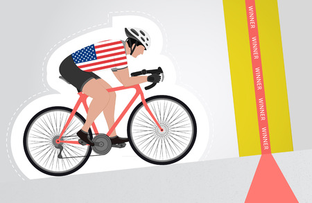 USA cyclist riding upwards to finish line vector isolated illustration Vector