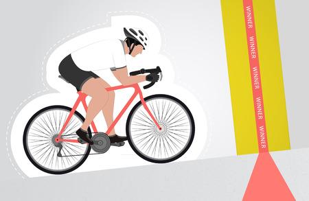 upwards: white dressed cyclist riding upwards to finish line vector isolated illustration