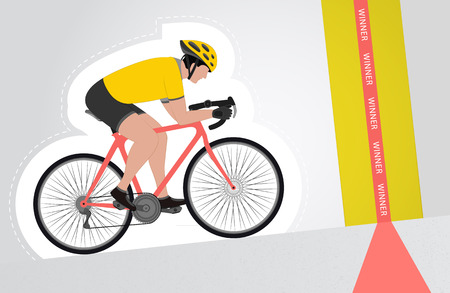 yellow dressed cyclist riding upwards to finish line vector isolated illustration Vector