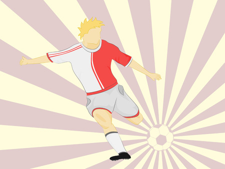 red dress soccer player shooting on striped background vector illustration Vector