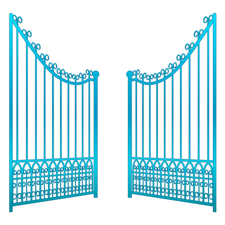keys to heaven: isolated on white open iron gate fence vector illustration