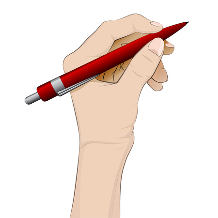 ballpoint: isolated human hand holding ballpoint vector illustration Illustration