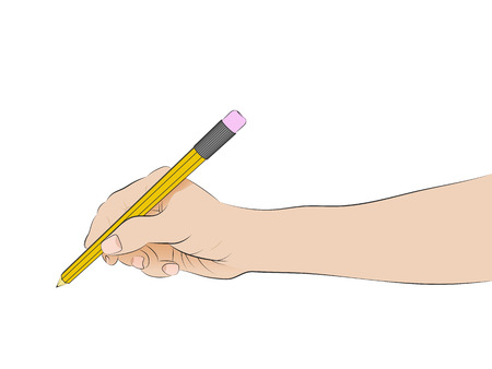 isolated human hand side view holding pencil writing vector illustration Çizim