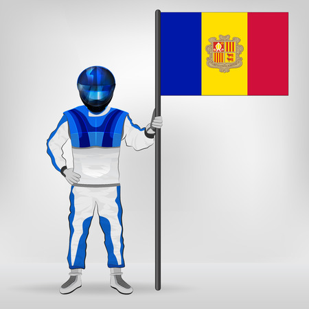 racer flag: standing racer holding Andorran flag vector illustration Illustration