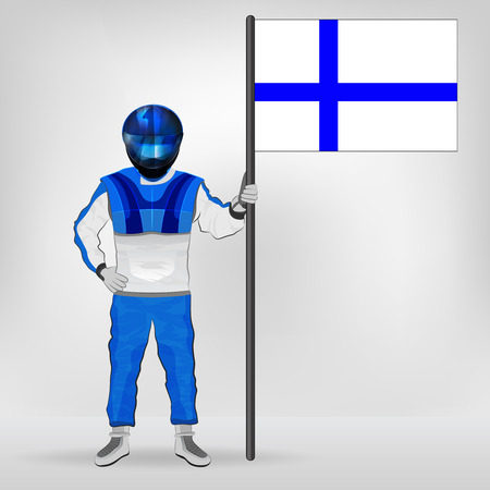 finnish: standing racer holding Finnish flag vector illustration