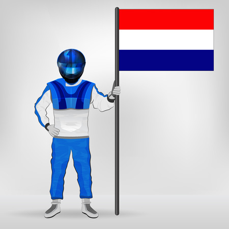 racer flag: standing racer holding Dutch flag vector illustration