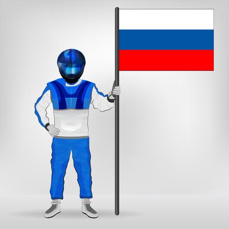 russian flag: standing racer holding Russian flag vector illustration Illustration