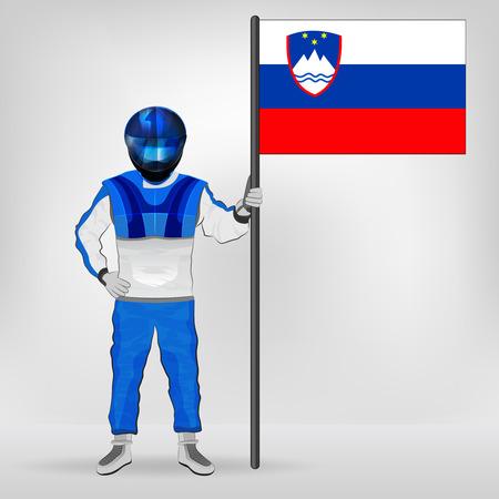 slovenian: standing racer holding Slovenian flag vector illustration