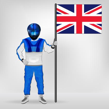 racer flag: standing racer holding British flag vector illustration Illustration