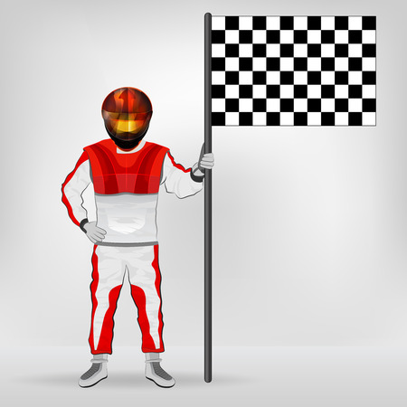 red overall standing racer holding checked flag vector illustration Vector