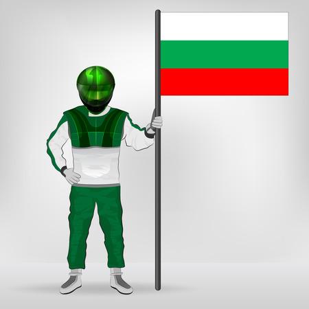 racer flag: standing racer holding Bulgarian flag vector illustration Illustration