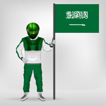 racer flag: standing racer holding Saudi Arabia flag vector illustration