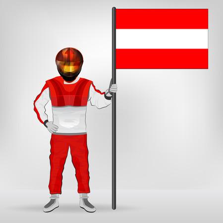 austrian flag: standing racer holding Austrian flag vector illustration
