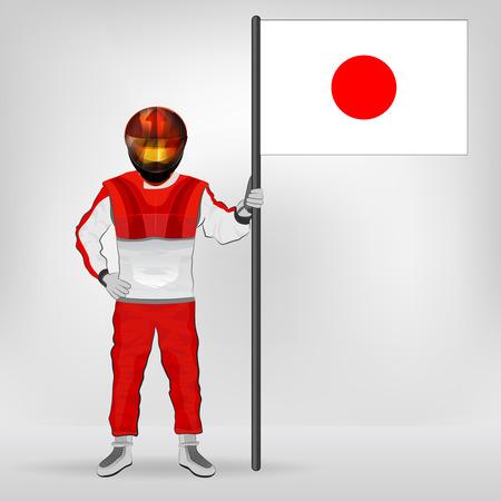 racer flag: standing racer holding Japanese flag vector illustration Illustration