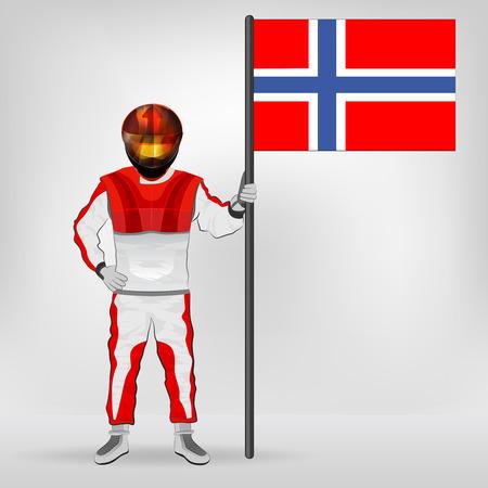 racer flag: standing racer holding Norwegian flag vector illustration Illustration