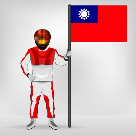 racer flag: standing racer holding Taiwan flag vector illustration
