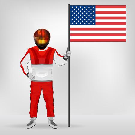 racer flag: standing racer holding USA flag vector illustration