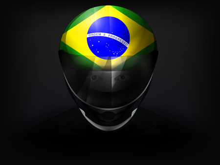 racer flag: Brazilian racer with flag on helmet vector closeup illustration Illustration