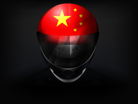 racer flag: Chinese racer with flag on helmet vector closeup illustration