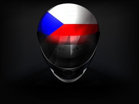 racer flag: Czech racer with flag on helmet vector closeup illustration Illustration