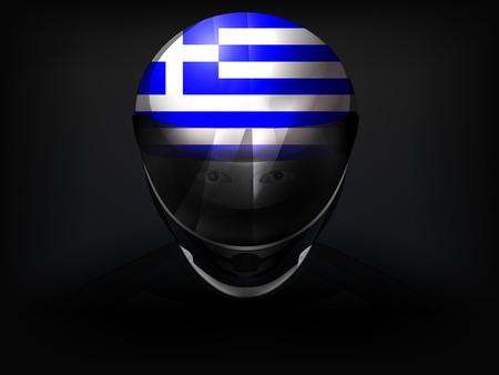 racer flag: Greek racer with flag on helmet vector closeup illustration Illustration